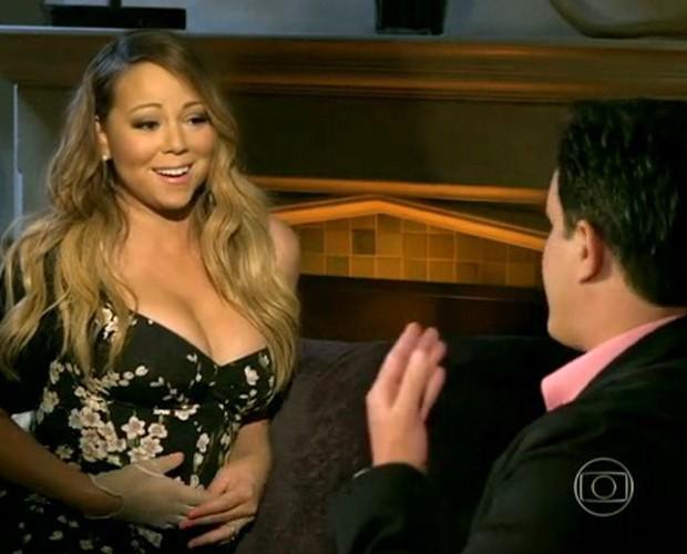 Mariah Carey dando entrevista à Ana Maria Braga