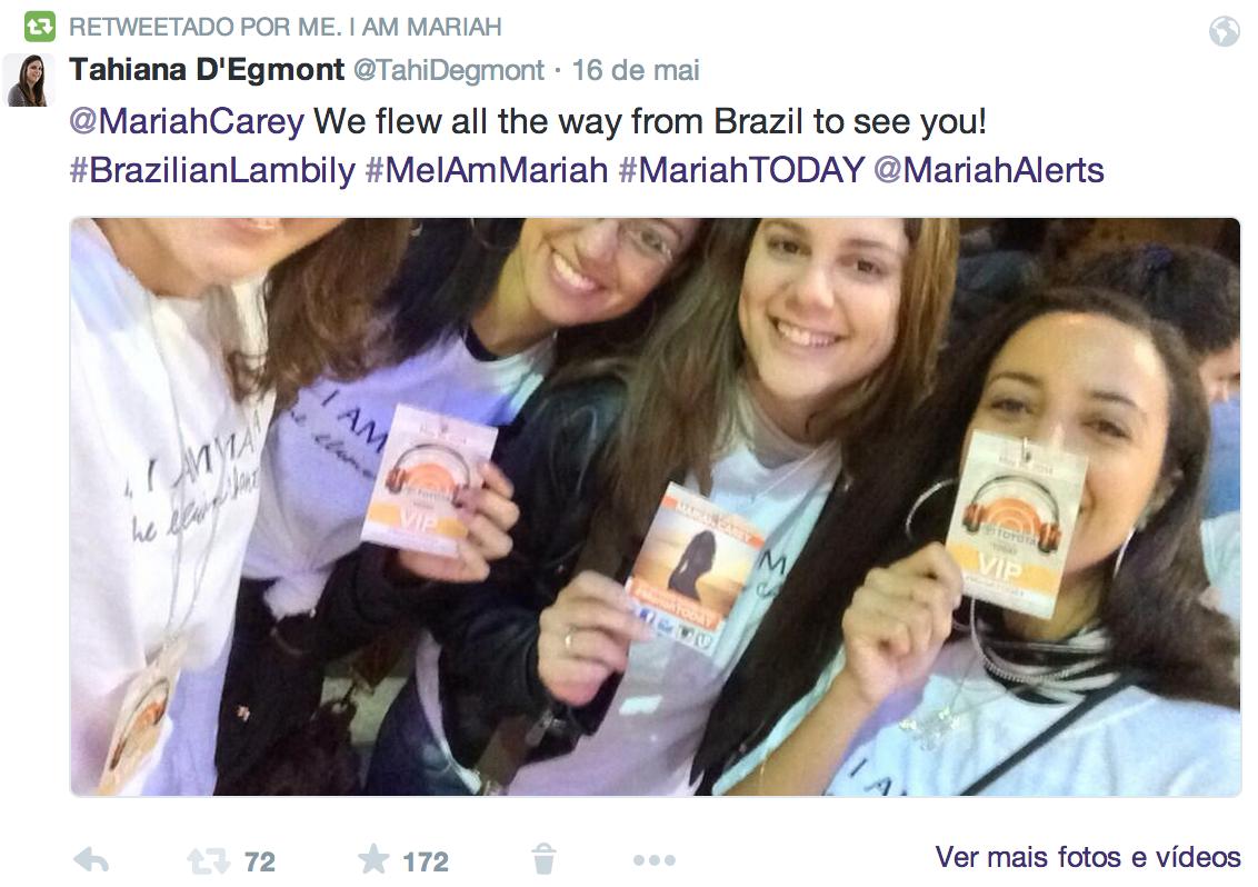 Mariah Carey retweeta fãs brasileiros
