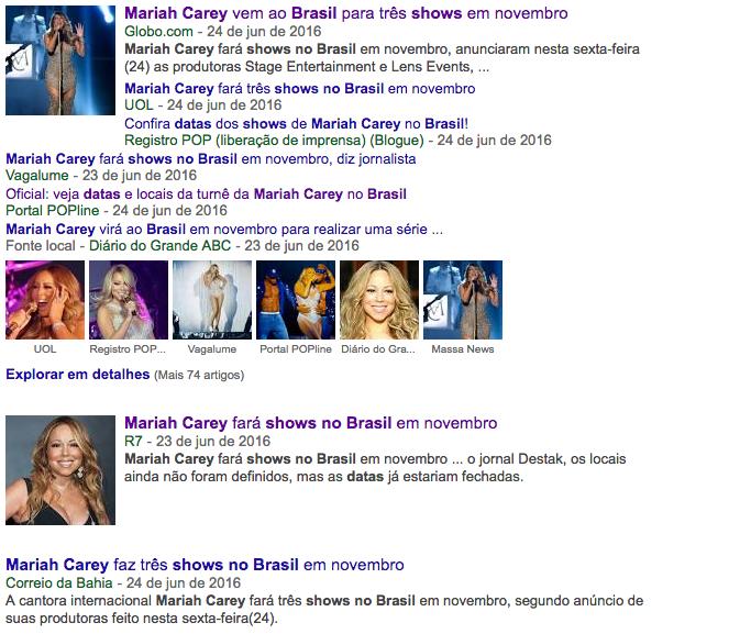 A cantora Mariah Carey em todas as mídias do Brasil
